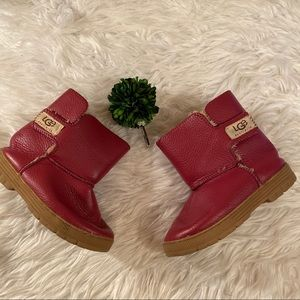 Ugg Red Sz 20 Girls Sherpa Lined Boots